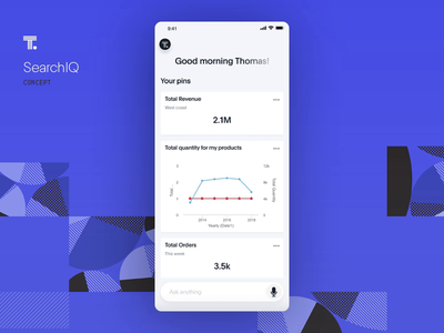 SearchIQ Natural language search. Concept. clean data analytics analyse voice search voice assistant voice mobie chart data search