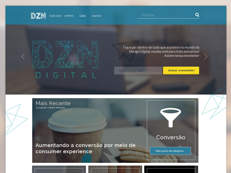 First attempt on the DZN Digital's home page. home landing