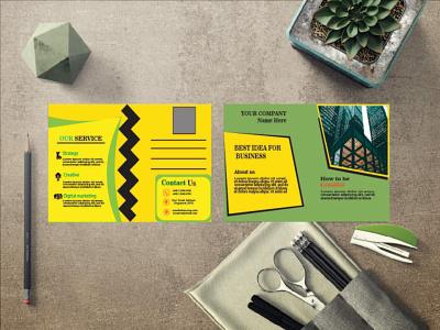 PostCard Design Template modern template design 3d branding graphic design