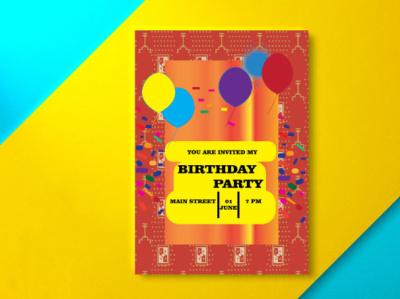 Birthday Party Invitation Card Design modern template design party birthday branding motion graphics graphic design