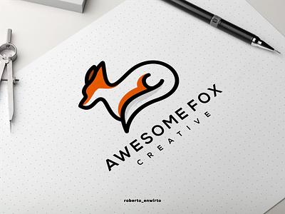 Awesome Fox Creative Logo vector illustration graphic design branding animation design logo logo design icon creative design logos logo fox awesome