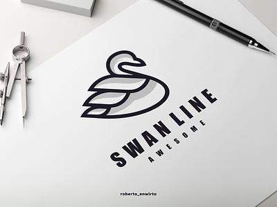 Swan Line Awesome Logo vector illustration graphic design animation branding desiner design logos logo awesome line swan