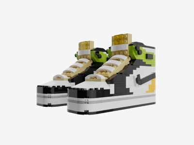 "Bricks Kicks Air Jordan ""Volt Gold"" Collectible Kit lego jordan nike toys model design"
