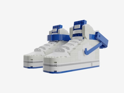"Bricks Kicks Air Force One ""White/Blue"" Collectible Kit collectibles toys air force 1 nike sneakers sneaker lego design"