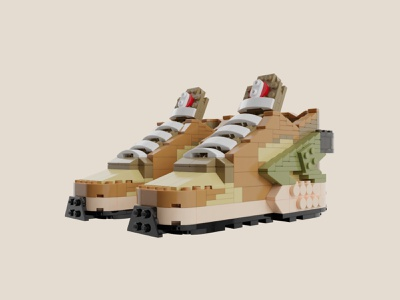 "Bricks Kicks Stussy x Air Huarache ""Desert Oak"" Kit lego huarache nike collectibles toys model 3d design"