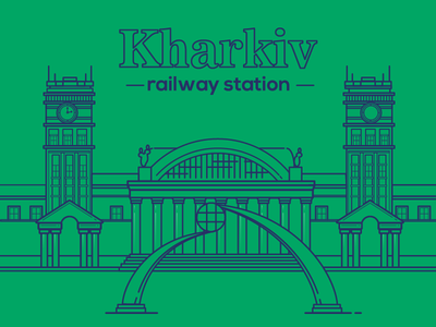 Kharkiv Railway Station travel illustrator train station