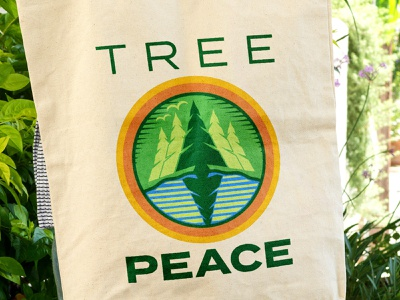 Tree Peace // Logo Mockup water logo design clean branding bag badge circle round blue green reforestation non profit forest trees tree