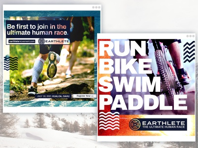 Earthlete // Social Media Layouts energy branding event paddleboard sup paddle run swim active template snapchat instagram post layout digital email facebook social social media outdoor
