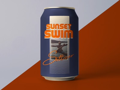 Summer Brew Set (3 of 3) clean active energy branding youth retro 80s can drink water sunrise sunset fun lake lake swim midwest swim mockup seltzer can design