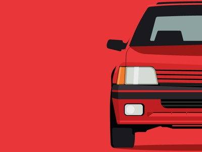 Classic 90s Peugeot abstract hatchback flat design red minimal peugeot 205 90s retro cars