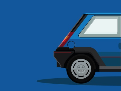 Classic 90s Renault abstract hatchback flat design blue minimal renault 90s retro cars