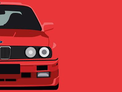Classic 90s BMW flat design minimal graphic design vintage retro classic red automotive cars illustration