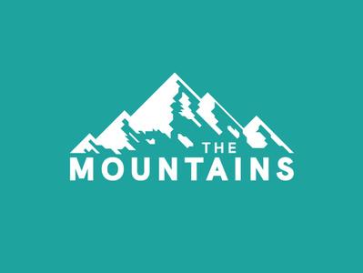 The Mountains flat design teal blue outdoors badgedesign badge illustration typogaphy graphic  design mountains branding logo