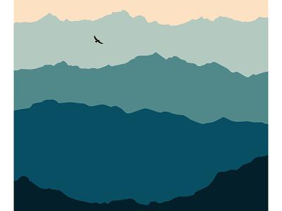 Mountain range graphic  design blue nature illustration illustartor nature mountains abstract minimal design illustration flat design