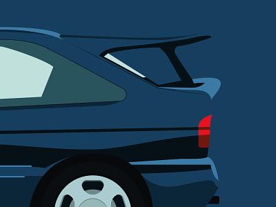 90s Escort Cosworth cosworth escort ford vector spoiler sporty hatchback 90s cars retro blue abstract minimal illustration design graphic  design flat design