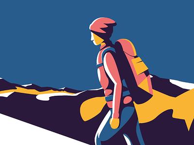Mountain climber mountain digital illustration digital art vector flat design people climbing illustration