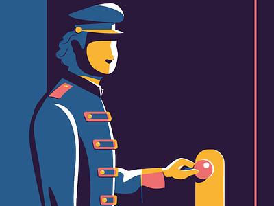 Customer first graphic design service luxury hotel human blue vector flat illustration customer service