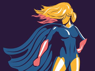 Offer more hero inspiring print poster flat design vector female illustration editorial corporate values superhero super