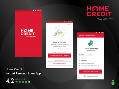 Home Credit India - Instant Personal Loan App finance app loan loan application process instant personal loan mobile app design mobile app home credit india android app interaction design usability testing user experience visual design user experience design