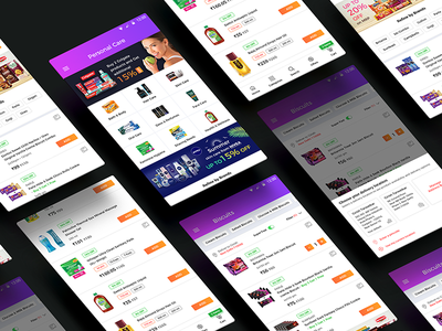 Online grocery shopping app in India interface design user experience design visual design interaction design product design grocery supermarket e-commerce mobile shopping online grocery shopping app