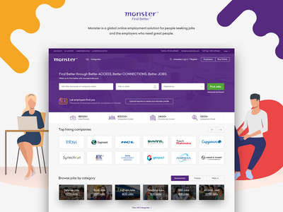Monster India Homepage job seekers user interface career management job board global talent platform online employment solution job portal user experience design visual design