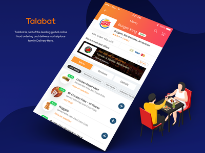 Talabat app - Menu view interface restaurant menus user experience design interaction design burger king burgers online food delivery app online food visual design user interface user experience