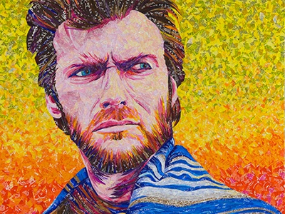 Clint Eastwood - Made with Recycled Candy and Drink Labels