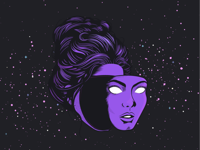 The World Has Turned and Left Me Here mask halftone starry sky head face woman floating head space illustration