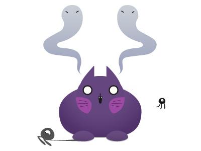 Fat Cat With Floaties ghostcat gradient cute monsters cyclops ghosts cat