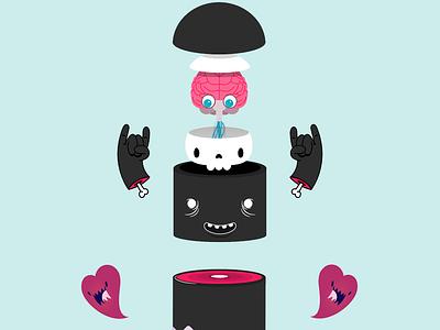 Rock (Inside) Out cartoon monster heart bones brain creature skull cute graphic illustration
