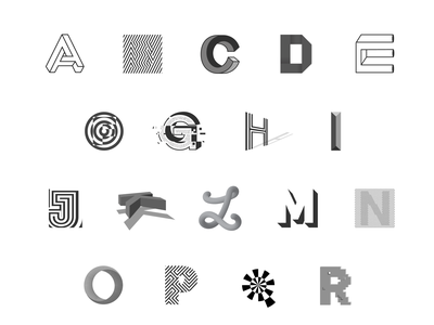 Optical Illusion Drop Caps In Grayscale gestalt optical illusion alphabet letters grayscale drop cap typography