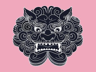 Foo Dog limited color palette illustration stipple shading stipple foo dog fu dog