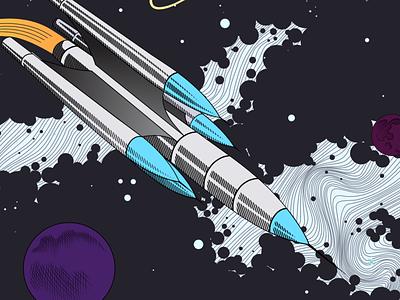 Spaceship kirby outerspace art comic ditko moon planet universe cosmos retro futuristic sci-fi retro spaceship space illustration