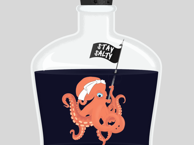 Stay Salty layers tentacles suction tentacle harpoon graphic design texture brushes texture bottle lettering typography cephalopod octopus graphic illustration