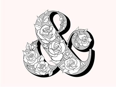 Rose Ampersand louis pouchee silhouette floral lettering floral type thorns vines logo design typography ornate type design floral roses lettering ampersand