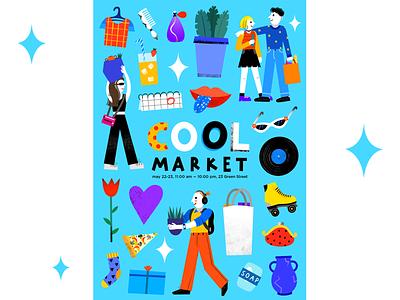 Cool Market poster poster poster design advertising advertising illustration illustration for brand illustration for web illustration for business branding illustration