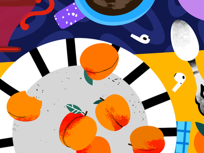 Peaches illustration for brand illustration for web branding illustration for business editorialillustration editorial illustration