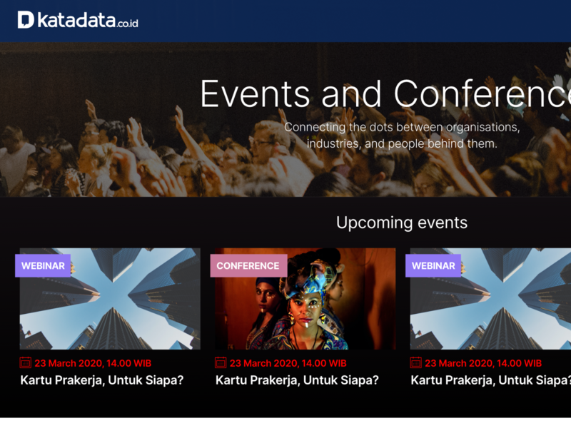 Events website for Katadata ux ui minimal information architecture editorial design typogaphy website event