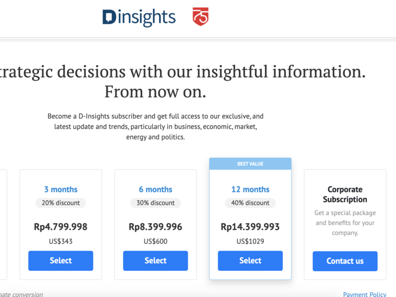 D-Insights pricing page ux design ui minimal editorial design information architecture typography