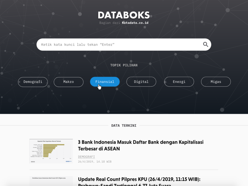 Databoks 2019 ui design minimal editorial design information architecture typography