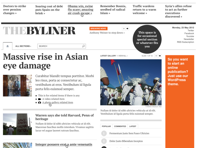 The Byliner newspaper wordpress news ui information architecture editorial design typography