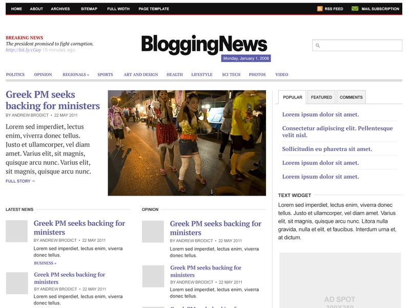 Bloggingnews 2 branding newspaper wordpress news information architecture editorial design typography