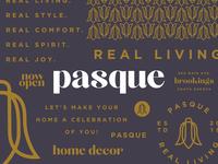 Pasque Branding pattern typography minimal flower pasque home decor branding and identity branding