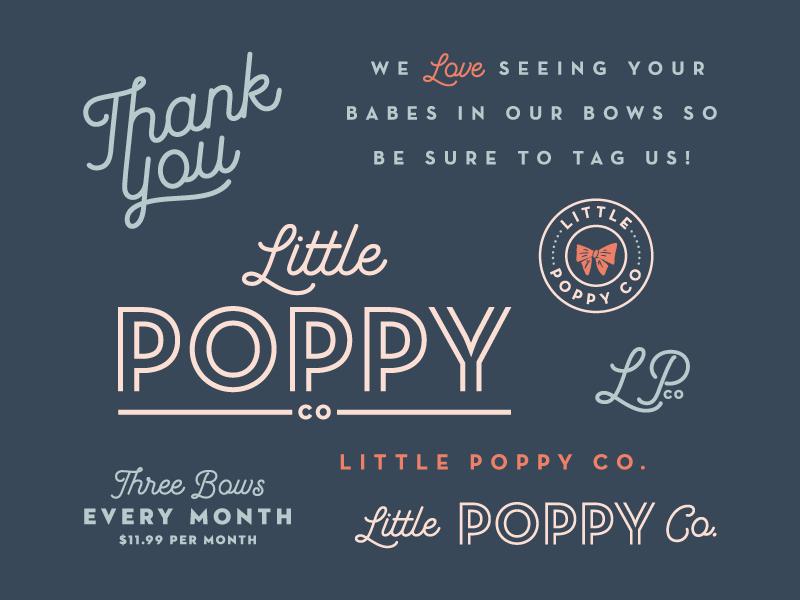 Little Poppy Co. Branding logo typography script cute kids branding babies bows