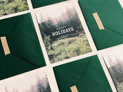 Minimal Holiday Card print moo christmas gold nature green minimal stationery card holiday