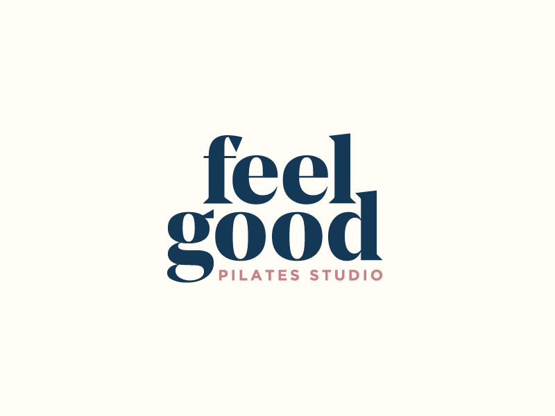 Feel Good Pilates Logo grand opening layout workout fitness pilates identity brand typography texas austin logo branding