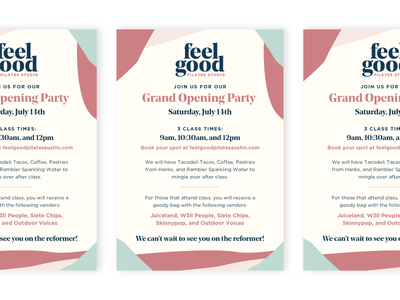 Grand Opening Flyer texas austin east austin branding fitness studio pilates grand opening flyer