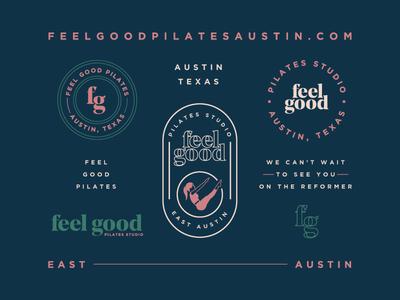 Feel Good Pilates mindbody layout workout fitness pilates identity brand typography texas austin logo branding