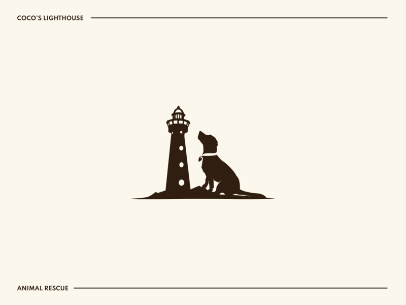 Coco's Lighthouse rescue animal labrador lighthouse dog icon adobe illustrator illustration silhouette identity branding clear clean design logo