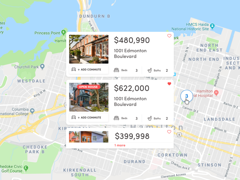 Real Estate Listings ui ux results search real estate listings maps